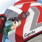 Capeta con su casco, Capeta, serie anime F1 coches, anime cartoons f1 cars