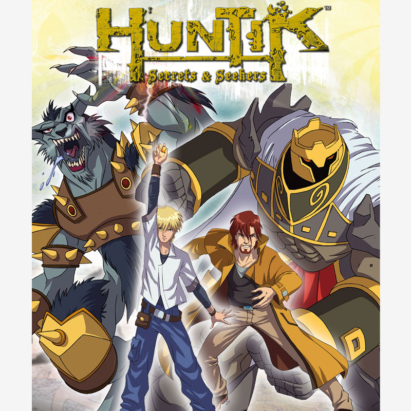 Flyer, poster huntik, serie de animación infantil para niños, animation for boy, tv series