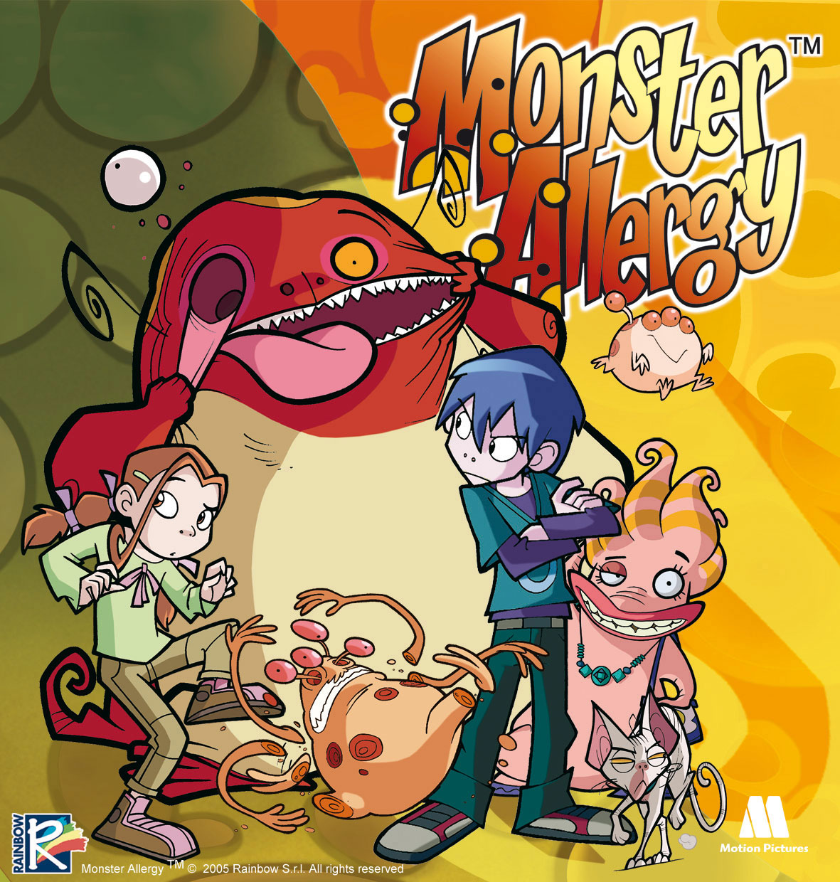 flyer, portada serie dibujos animados Monster allergy