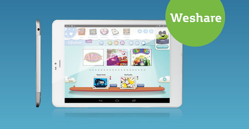 tablet for family weshare with infantium and education tv series